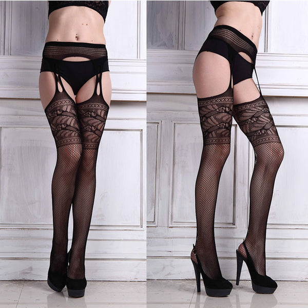 Womens Sexy Lingerie net Lace Top Garter Belt Thigh Stocking Pantyhose