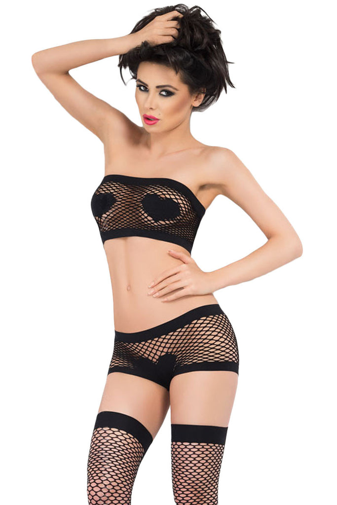 Women Heart Pattern Fishnet Lingerie Nightwear Set