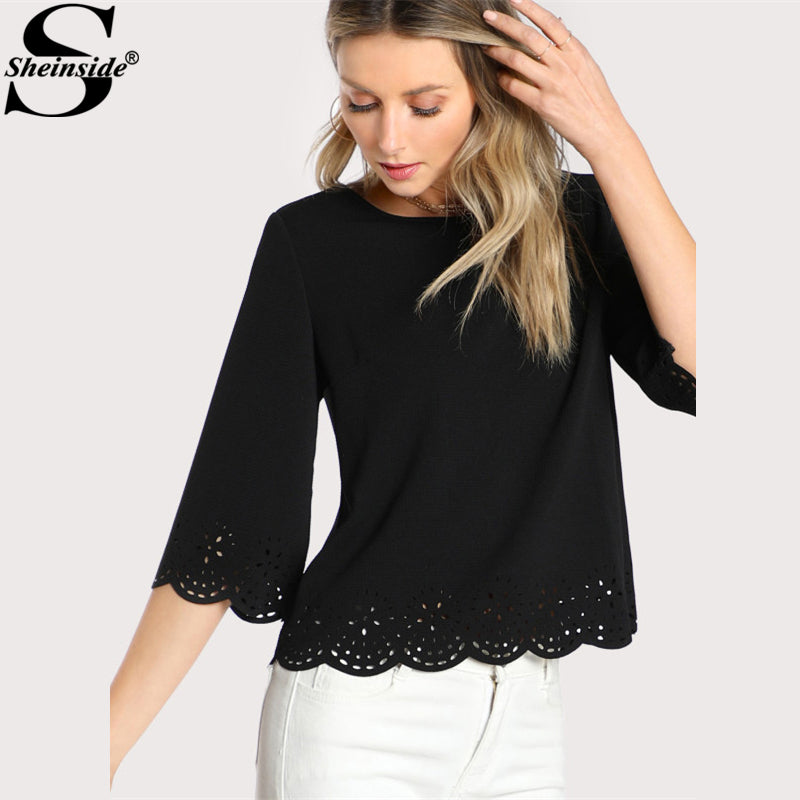 Textured casual blouse with round neck and 3/4 sleeve