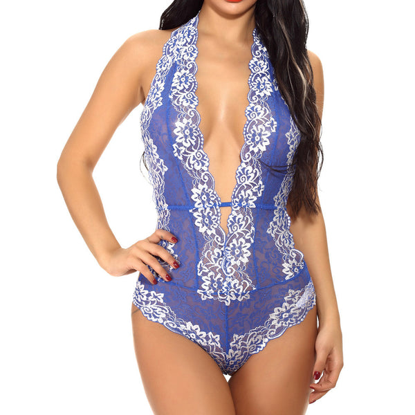 Women's Lingerie Bodysuit Deep V Teddy Lingerie One Piece Lace Babydoll