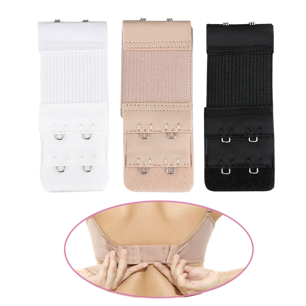 3pcs Women's Elastic Bra Lingerie Extenders 2-Hooks 2 Rows Extension Straps in Different Colors (Black & White & Nude)