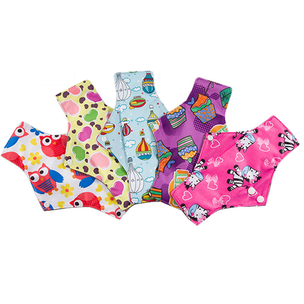 5Pcs Washable Reusable Sanitary Towel Portable Foldable Bamboo Charcoal Cloth Menstrual Pads