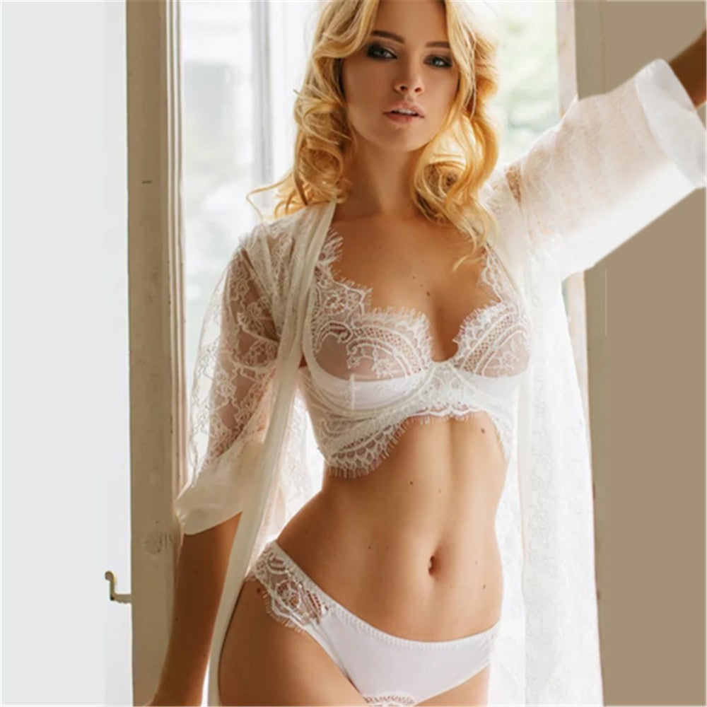 Womens Eyelash Lace Lingerie Bodydoll V-neck Lace Details Pajamas Set