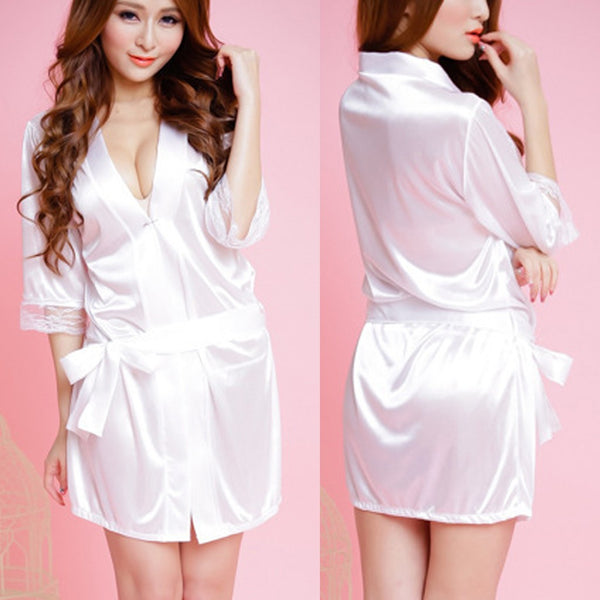 Women Ladies Sexy Lace Silk Underwear Lingerie Sleepwear Nightdress Robe Dress