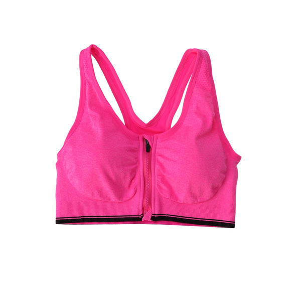Women's Front Zipper Closure Sports Bra Padded Push Up Wirefree Crop Top Gym Fitness Running Bra