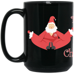 """Meditating Santa"" Black 15oz Coffee Mug"