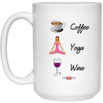 """Coffee Yoga Wine"" 15 oz. White Mug"
