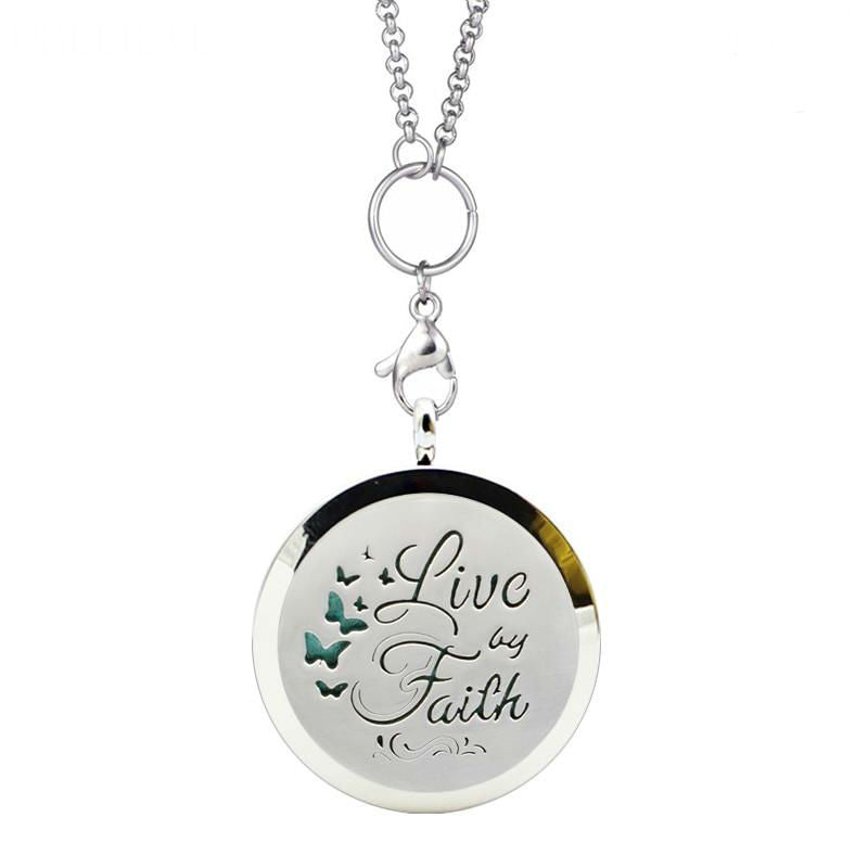 """Live By Faith"" Essential Oil Pendant"