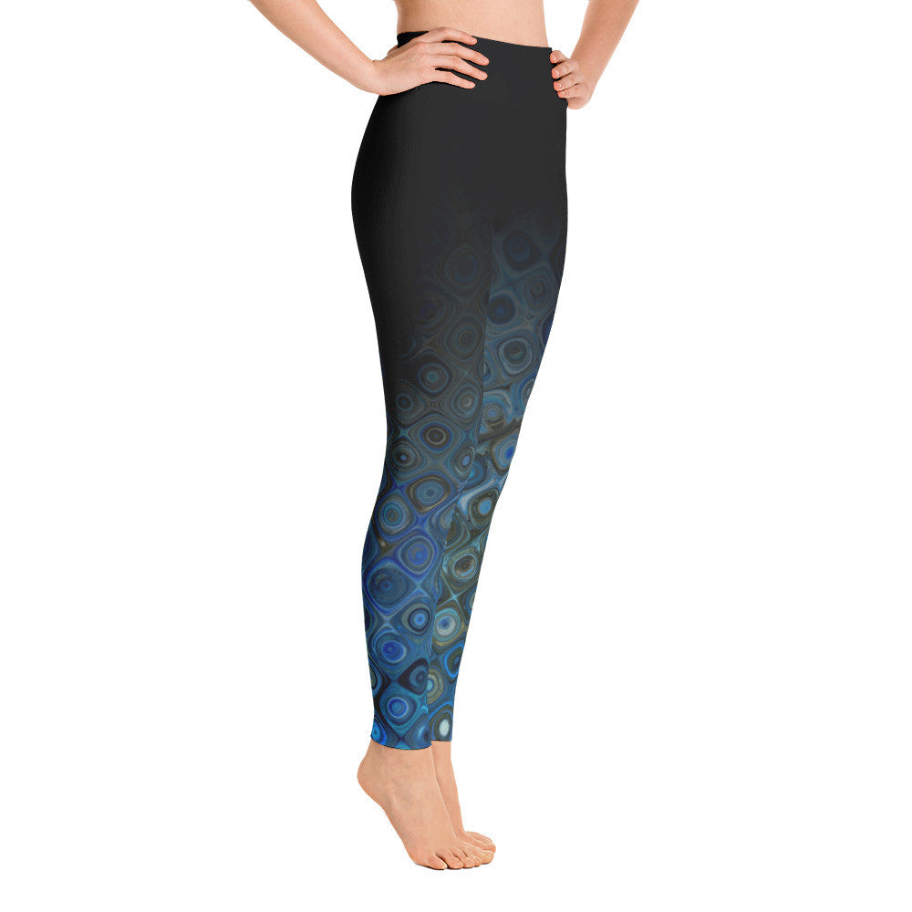 """Blue Swirl Ombre"" Yoga Pants"