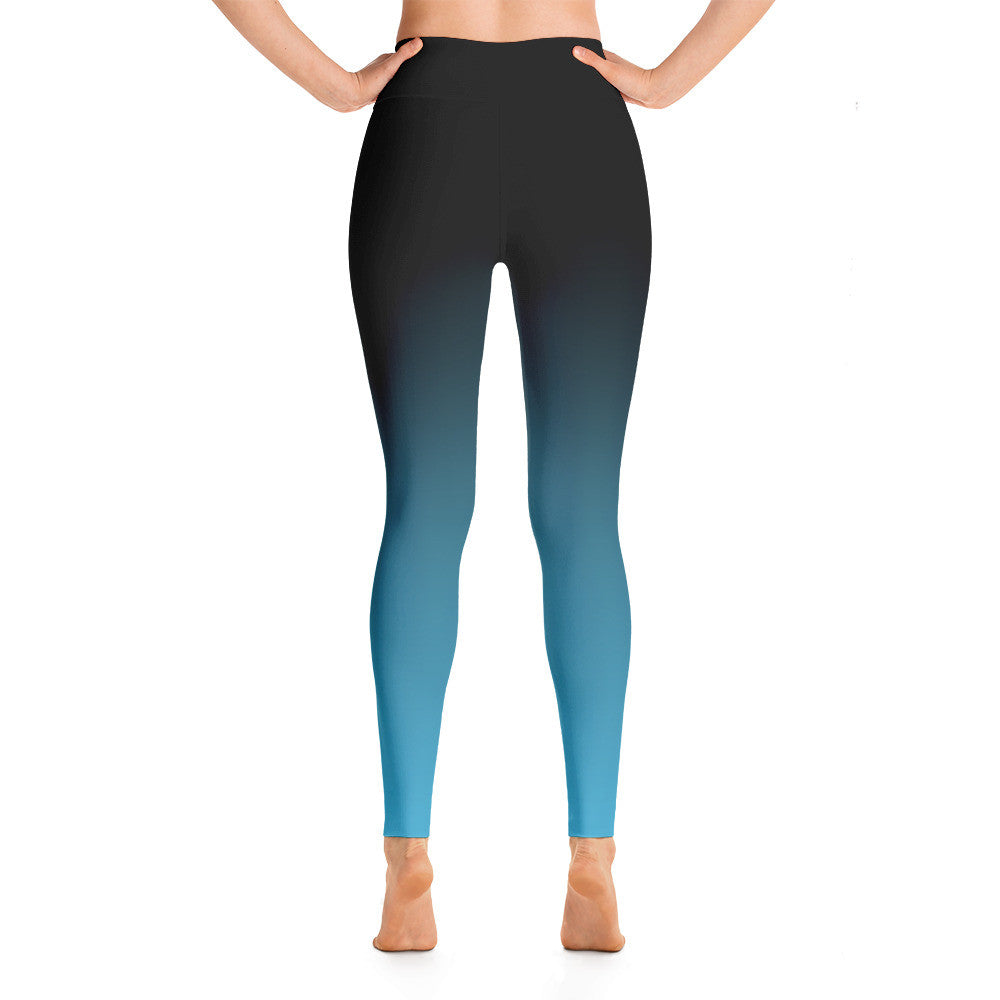 """Basic Blue Ombre"" Yoga Pants"