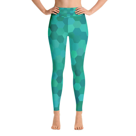 """Green Hex"" Yoga Pants"