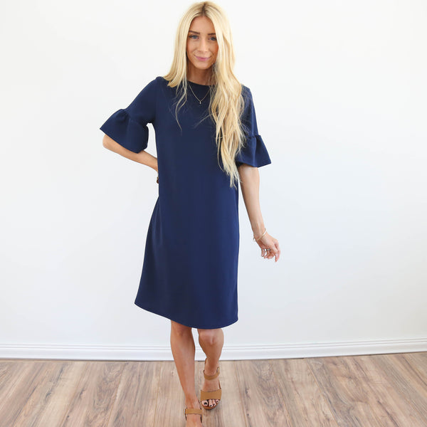 Bell Sleeve Navy Dress