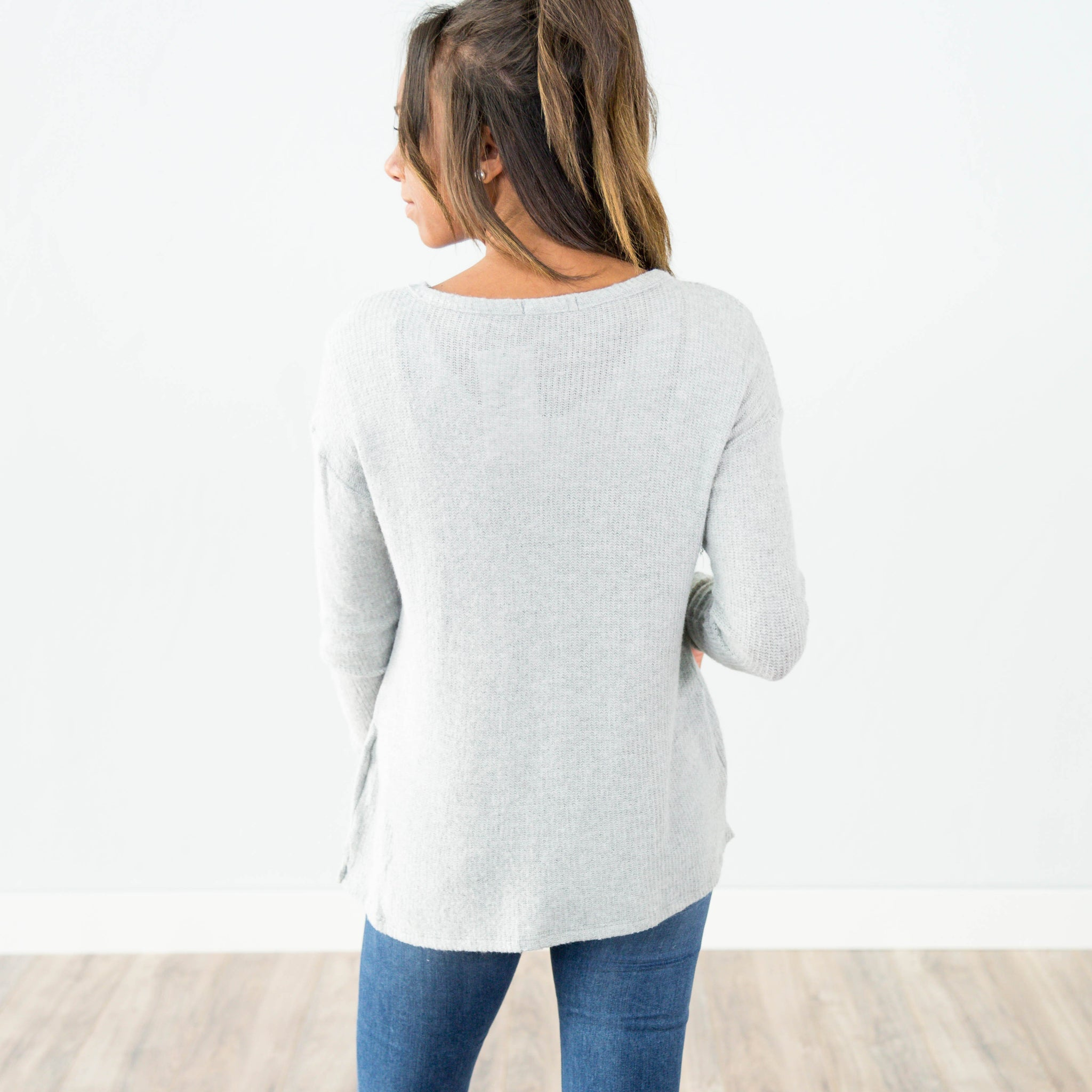 Mary Jane Sweater in Heather Grey