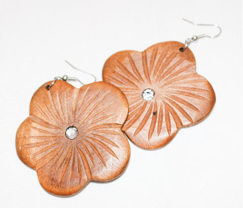 Flower Wood Earrings with Rhinestone