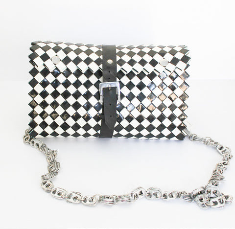 Recycled Materials Shoulder Bag in Black & White
