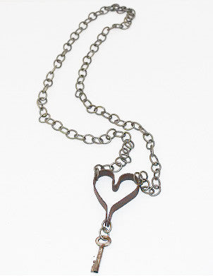 Antique Key to My Heart Necklace
