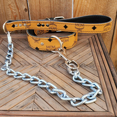Classic tan leather dog collar and leash