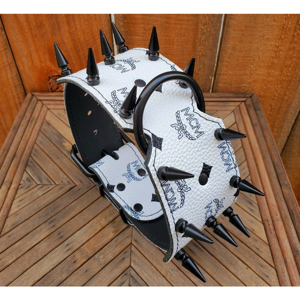 "3"" White And Black Spiked Leather Dog Collar - READY TO SHIP - FITS 16"" TO 20"" NECKS"