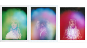 Three Halo Auragraphic Aura Photos, image left is a woman with a vibrant green and blue aura, image center is a man and woman together with a blue and pink aura, image right is a woman with a deep red crystal and magenta aura.