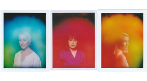 This is an image of three aura photos by Halo Auragraphic, image left is an aura photo of a woman with a blue and green aura, image center is a girl with a red and magenta aura, image right is a girl with an orange, green and red aura.