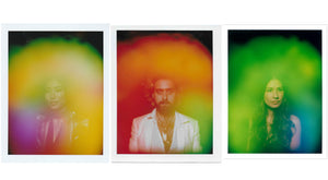 This is an image of three aura photos by Halo Auragraphic, image left is a girl with a yellow aura, image center is a man with an orange aura, image right is a woman with a green aura.