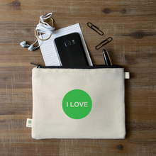 Load image into Gallery viewer, I LOVE - Heart Chakra Hemp Carry All Pouch - natural