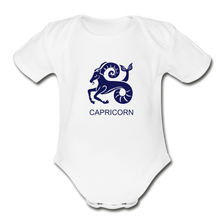 Load image into Gallery viewer, Capricorn Zodiac Sign Organic Short Sleeve Baby Onesie - white