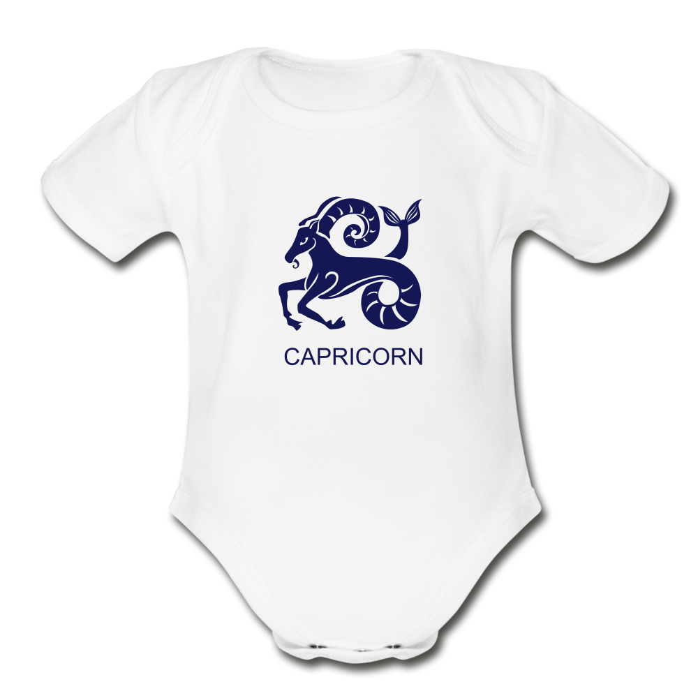 Capricorn Zodiac Sign Organic Short Sleeve Baby Onesie - white