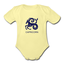 Load image into Gallery viewer, Capricorn Zodiac Sign Organic Short Sleeve Baby Onesie - washed yellow