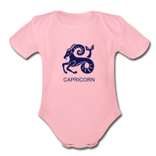 Load image into Gallery viewer, Capricorn Zodiac Sign Organic Short Sleeve Baby Onesie - light pink