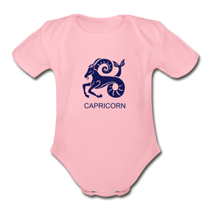 Capricorn Zodiac Sign Organic Short Sleeve Baby Onesie - light pink