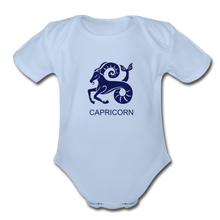 Load image into Gallery viewer, Capricorn Zodiac Sign Organic Short Sleeve Baby Onesie - sky