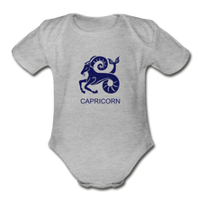 Load image into Gallery viewer, Capricorn Zodiac Sign Organic Short Sleeve Baby Onesie - heather gray