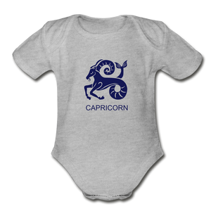 Capricorn Zodiac Sign Organic Short Sleeve Baby Onesie - heather gray