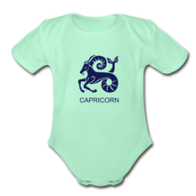 Load image into Gallery viewer, Capricorn Zodiac Sign Organic Short Sleeve Baby Onesie - light mint