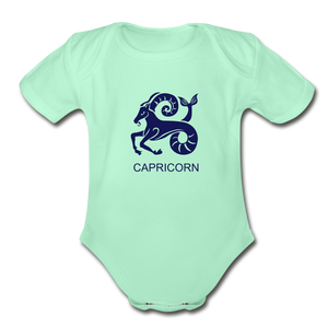 Capricorn Zodiac Sign Organic Short Sleeve Baby Onesie - light mint