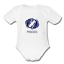 Load image into Gallery viewer, Pisces Zodiac Sign Organic Short Sleeve Baby Onesie - white