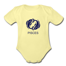 Load image into Gallery viewer, Pisces Zodiac Sign Organic Short Sleeve Baby Onesie - washed yellow