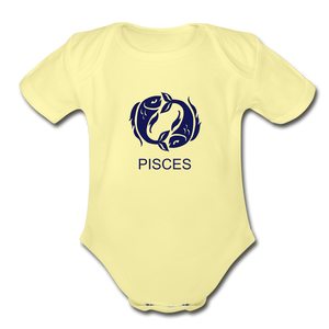 Pisces Zodiac Sign Organic Short Sleeve Baby Onesie - washed yellow