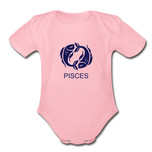 Load image into Gallery viewer, Pisces Zodiac Sign Organic Short Sleeve Baby Onesie - light pink