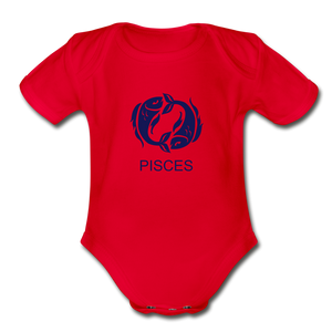 Pisces Zodiac Sign Organic Short Sleeve Baby Onesie - red