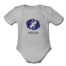 Load image into Gallery viewer, Pisces Zodiac Sign Organic Short Sleeve Baby Onesie - heather gray
