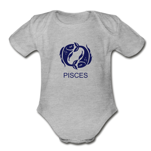 Pisces Zodiac Sign Organic Short Sleeve Baby Onesie - heather gray