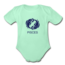 Load image into Gallery viewer, Pisces Zodiac Sign Organic Short Sleeve Baby Onesie - light mint