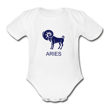 Load image into Gallery viewer, Aries Zodiac Sign Organic Short Sleeve Baby Onesie - white