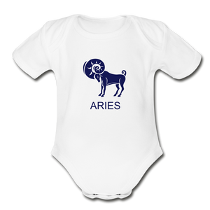 Aries Zodiac Sign Organic Short Sleeve Baby Onesie - white