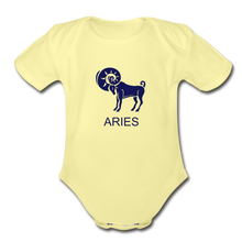 Load image into Gallery viewer, Aries Zodiac Sign Organic Short Sleeve Baby Onesie - washed yellow