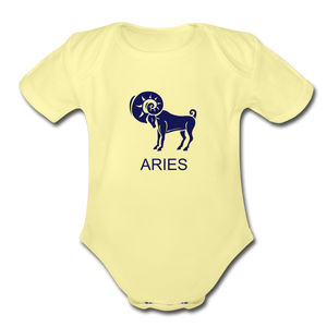 Aries Zodiac Sign Organic Short Sleeve Baby Onesie - washed yellow