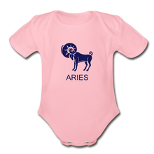 Load image into Gallery viewer, Aries Zodiac Sign Organic Short Sleeve Baby Onesie - light pink