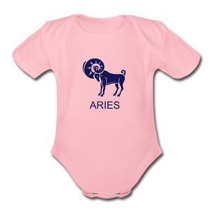 Aries Zodiac Sign Organic Short Sleeve Baby Onesie - light pink